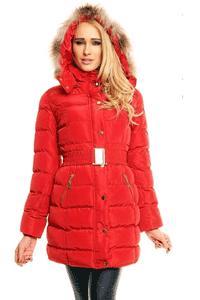 Geaca de iarna lunga model Houston, de culoare rosie