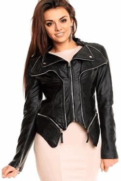 Jacheta Neagra din Piele Carson, jacheta asimetrica din piele ecologica cu fermoare aplicate pe maneci. Poate fi purtata chiar si la o rochie scurta.