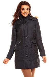 Jacheta de iarna de culoare bleumarin, cu gluga, model Dixie