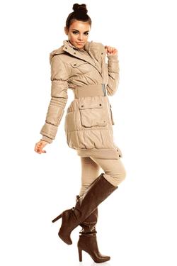 Jacheta lunga de culoare crem cu gluga, model Becket