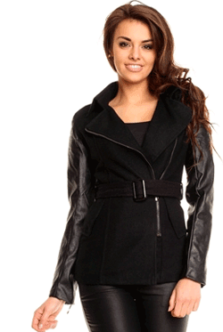 Jacheta din Stofa cu Piele Novelle, jacheta scurta din stofa cu insertii din piele ecologica de culoarea neagra.