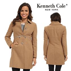 Palton din lana de dama Kenneth Cole Wool Walker with Zipper Accents