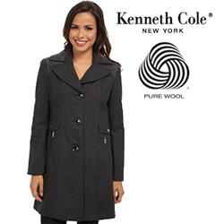 Palton din lana de dama Kenneth Cole Zip Front Belted Wool Coat