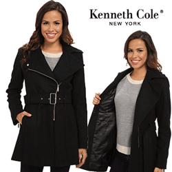 Palton scurt din lana de dama Kenneth Cole Asymmetrical Wool Coat de culoare neagra