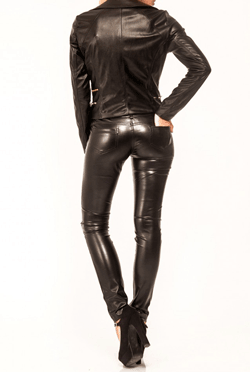 Pantaloni Row Negri din piele ecologica