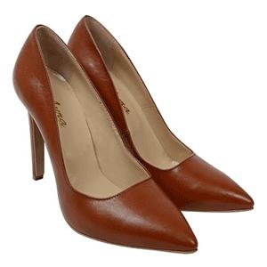 Pantofi stiletto din piele naturala de culoare maro, fabricati in Romania la Dasha