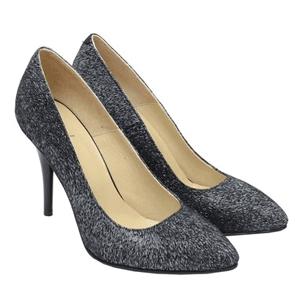 Pantofi dama stiletto din piele intoarsa cu imprimeu alb-negru, exterior piele naturala, interior piele naturala.