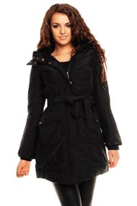 Parka Kinga (jacheta) lunga de iarna de culoarea neagra cu gluga detasabila cu blanita