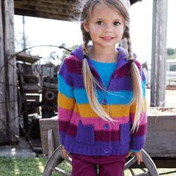 Jacheta colorata tricotata pentru fete si fetite