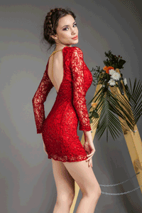 Rochie dantela rosie cu paiete Atmosphere Fashion Romania