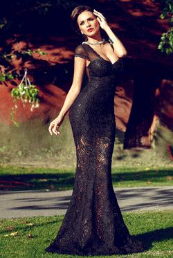 Rochie eleganta Grace lunga tip sirena din dantela neagra