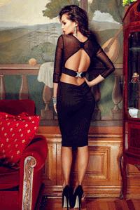 Rochie sexy neagra din lycra si tul decupata la spate