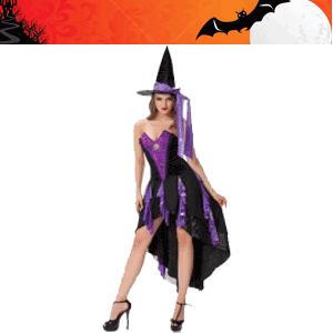 Costum tematic de vrajitoare din rochie cu bretele din silicon detasabile, palarie, chilot snur.