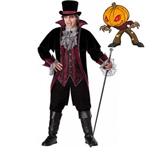 Costum tematic de vampir, alcatuit din vesta cu guler lat si nasturi in fata, frac cu pelerina, maneci lungi si mansete din dantela , pantaloni treisfert cu nasture si fermoar, accesorii gat si cizme, palarie