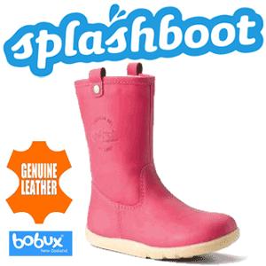 Cizme Bobux calduroase din piele naturala impermeabila Splash de culoare roz pentru fetite
