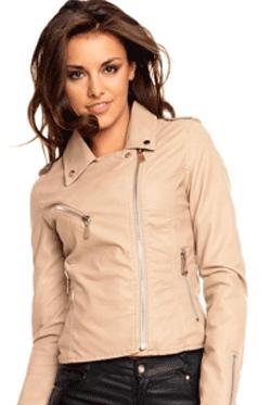 Jacheta Crem Loris, jacheta din piele de culoarea nude (bej crem)