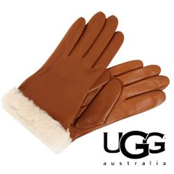 Manusi dama UGG Classic Turn Cuff Glove din piele culoare maro chestnut