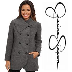 Palton scurt din lana pentru femei firma: Jessica Simpson Double Breasted Basket Weave Wool