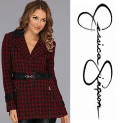 Jacheta din lana Jessica Simpson  Jessica Simpson Houndscheck Wool Coat