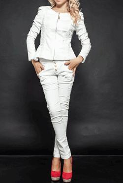 Pantaloni dama albi Brill brodati si cu voal