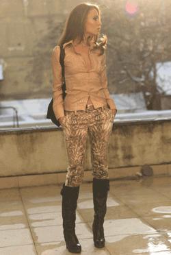 Pantaloni dama animal print de purtat la cizme inalte