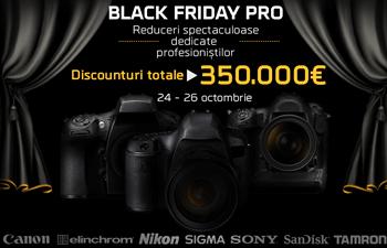 Black Friday Pro la F64 destinata profesionistilor foto-video. Vor fi preturi reduse la echipamente, aparate si instrumente foto de top precum : Canon, Nikon, Sony, Elinchrom, Sandisk, Sigma si Tamron.