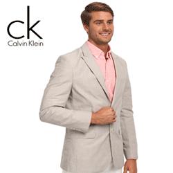 Sacouri elegante pentru barbati in culori deschise CK Calvin Klein YD Ramie/Cotton Stripe Half Lined Jacket