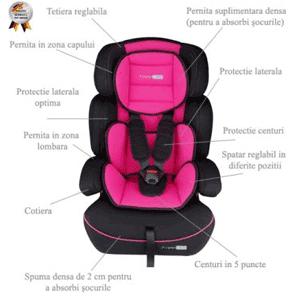 Cele mai ieftine scaune auto pentru bebe BabyGo FreeMove Roz
