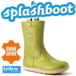 Cizme calduroase din piele naturala impermeabila Splash de culoare verde pentru baieti si fetite mici