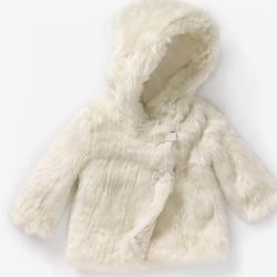 Paltonas ecru din blana pentru copii