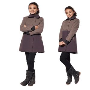Palton din lana in doua culori pentru fete 8-12 ani