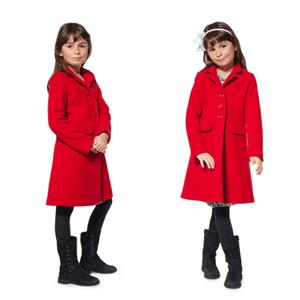 Palton rosu din lana pentru fetite 8-9 ani
