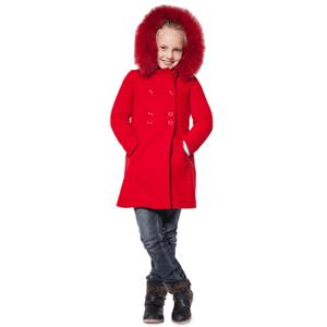 Palton din lana cu blanita naturala pentru fete
