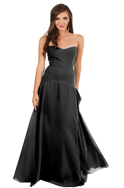 Rochie de seara Evelyn de printesa moderna de culoare neagra