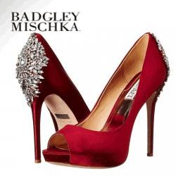 Pantofi de lux cu toc Badgley Mischka accesorizati cu bijuterii si strassuri