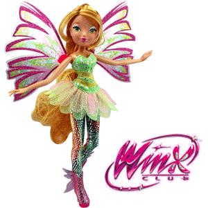 Papusa Winx Sirenix Double Wings Boom, Flora si Stella