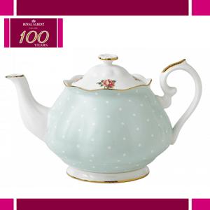 Ceainic din portelan bordura aur pur - Polka Rose Vintage