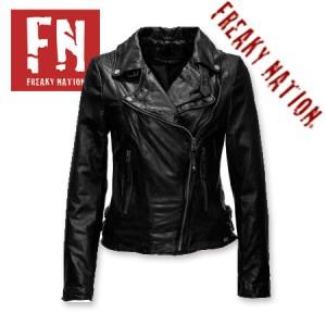 Geaca piele Biker Slim Fit Freaky Nation Neagra Taxi Driver jachete si geci din piele pentru femei