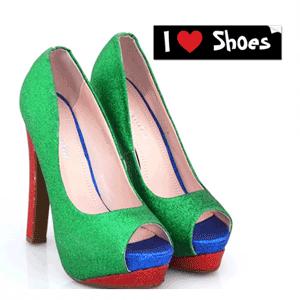 Pantofi cu toc Verzi cu sclipici