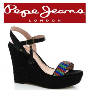 Sandale dama cu platforma Pepe Jeans Wass negre