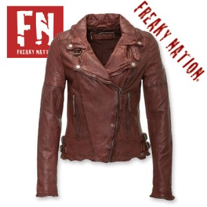 Geci din piele fina pentru femei Slim Fit Biker Freaky Nation Visinie Glory pentru primavara vara