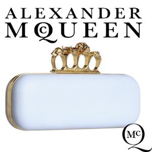 Clutch Alexander McQueen Knuckle Box Bleu