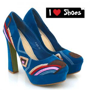 Pantofi cu toc Celina albastru turcoaz