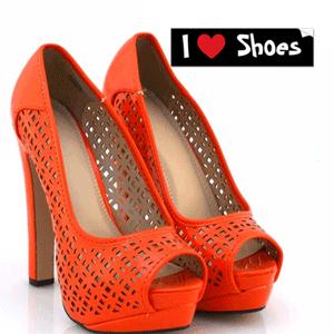 Pantofi cu toc portocalii cu perforatii