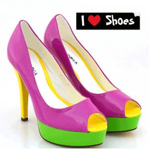 Pantofi cu toc super colorati Fucsia Nichita