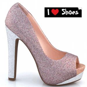 Pantofi cu toc Violet cu sclipici