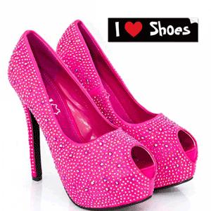 Pantofi Glamour cu strassuri si tinte Genoveve de culoare roz aprins
