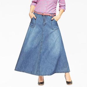Fusta jeans stretch lunga