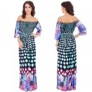 Rochie lunga moderna, cu imprimeu multicolor, umerii goi, maneci trei sferturi si cordon in talie.