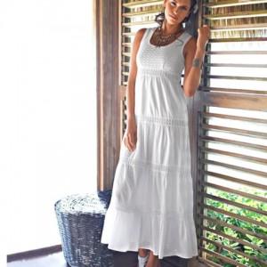 Rochie lunga vaporoasa din bumbac cu macrameu